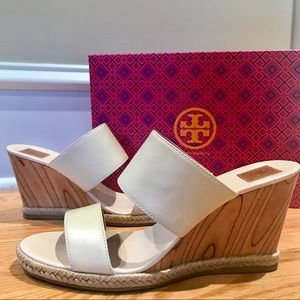 Tory Burch Dulce De Leche Leather Wedges